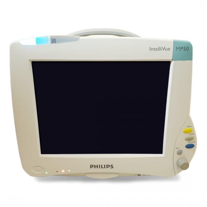 Philips IntelliVue MP50 Patient Monitor   SW Rev  B 05 67   ECG, SpO2, NBP,  Press, Temp   Philips M3001A Module   60 Day Warranty